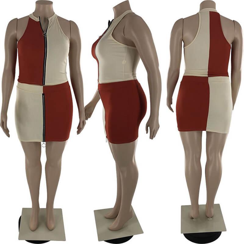 plus size two piece skirt set-orange-model view