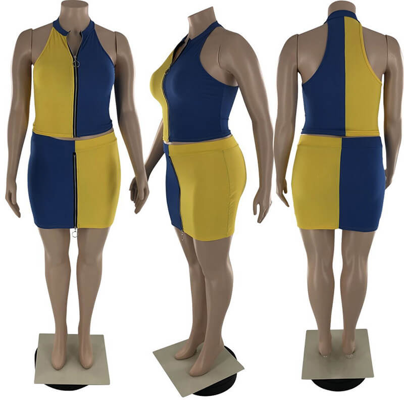 plus size two piece skirt set-yellow-model view